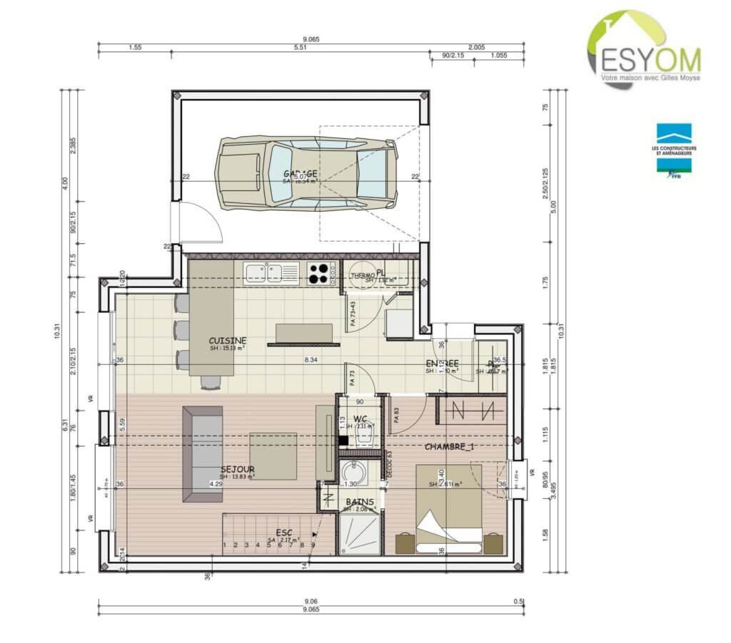 rez de chaussee v2 esyom. Black Bedroom Furniture Sets. Home Design Ideas
