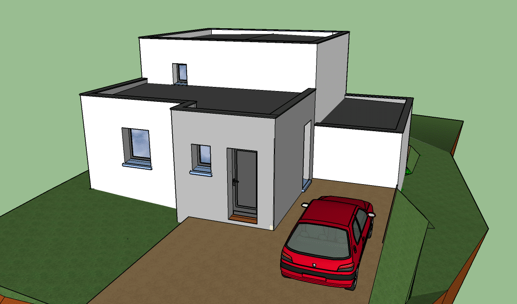 Construction de maison individuelle en toit terrasse