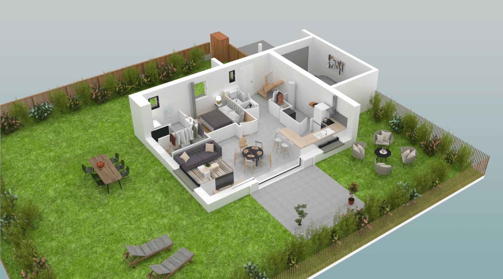 Maison individuelle moderne libra construction de for Plan maison individuelle moderne