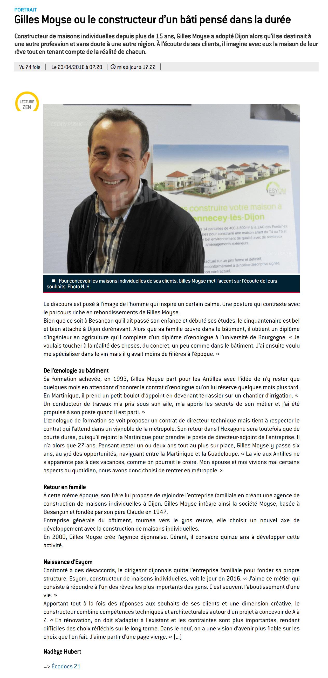 Esyom dans le Bien Public - Gilles Moyse ou le constructeur d'un bâti pensé dans la durée