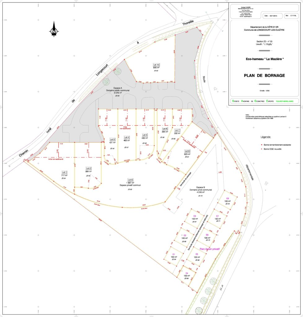 Plan des lots individuels Longecourt-les-culètre