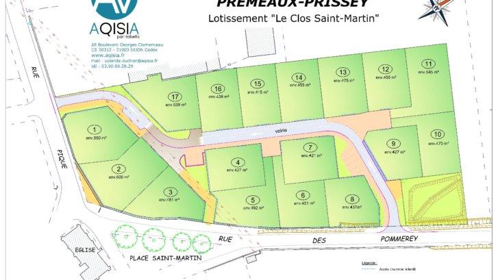 PREMEAUX PRISSEY - Le Clos St Martin - terrains à vendre