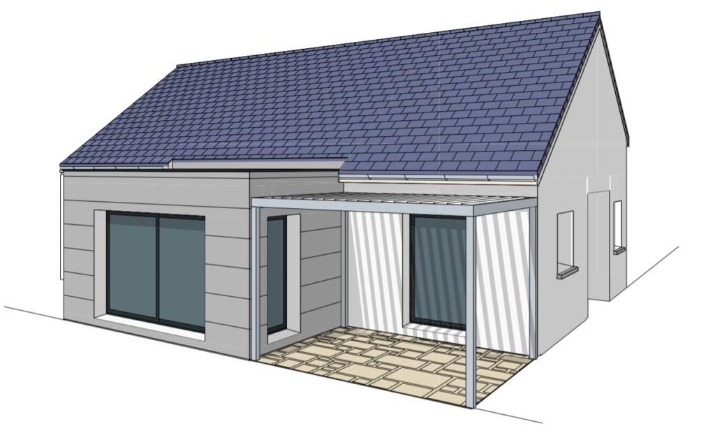 maison contemporaine de plain-pied avec toit terrasse