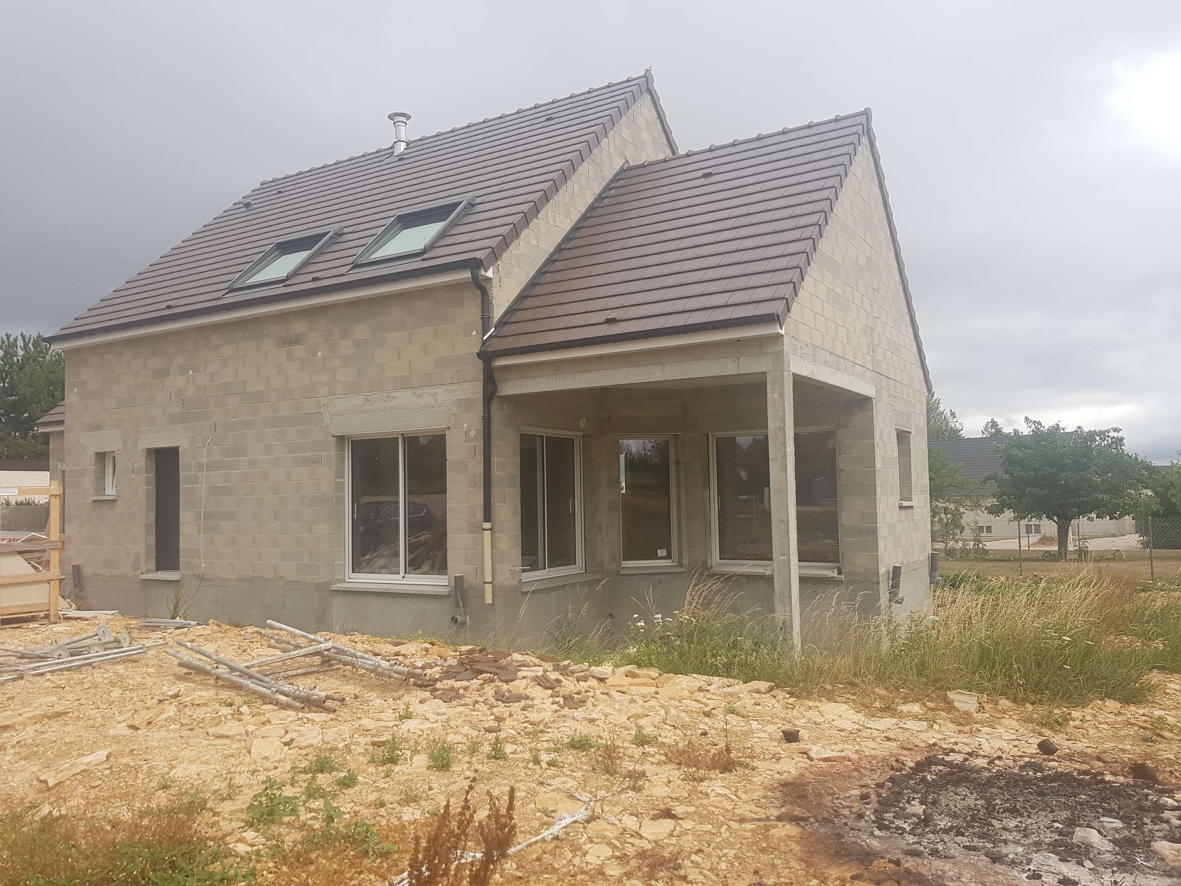 Maison contemporaine Dijon en construction