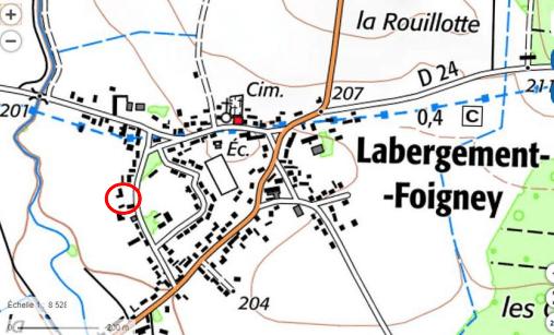 plan localisation terrain à vendre à Labargement Foigney